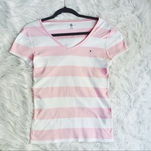🎉SALE🎉 TOMMY HILFIGER | Pink white striped tee